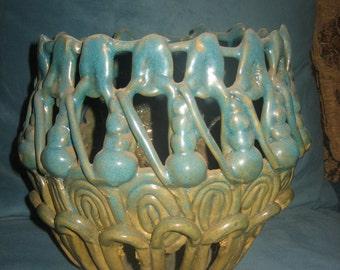Hand Molded Blue/Green Ceramic/Pottery Ornate Pot