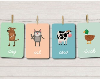 Farm Animals Flash Cards, Learning printables, Learning cards,  Educational games, Kindergarten games, Preschool cards