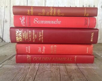 Red Decorative Vintage Books Vintage Books | Wedding Centerpiece | Wedding Decor Centerpiece | Wedding Decoration | Wedding Photo Prop