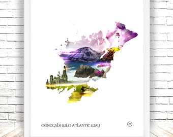Donegal,The wild atlantic way,Fanad Lighthouse, irish surf,mount Errigal, Letterkenny Cathedral,digital print, Pink.Purple