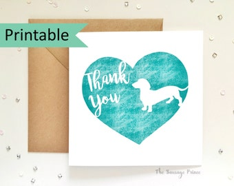 Thank You Dachshund Greeting Card Template Instant Printable Digital Download (A4 flat, A5 folded)