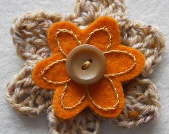 Crochet Flower Corsage Brooch Handcrafted: speckled fawn crochet flower with hand embroidered felt inner and button