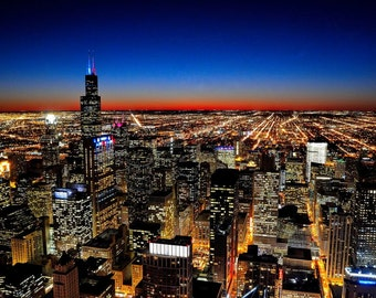 Chicago Skyline from above at sunset