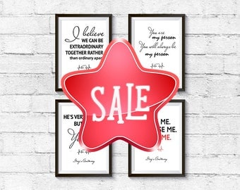 40% OFF Set of Four Greys Anatomy Quotes You are my person Greys Anatomy Gifts Digital Set Love Print Meredith Grey Poster Just for him
