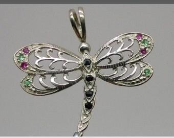 14k Dragonfly Pendant, W-Y-R