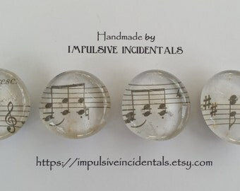 Vintage sheet music glass magnets