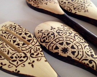 Wooden Spoons - Snowflake Mandala - cooking utensils - boho design