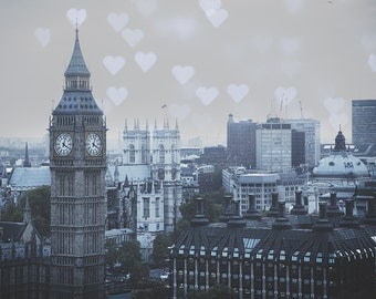 London Fine Art Photograph - I love London - Big Ben with Hearts Photography - London art prints - London wall decor - big ben photo
