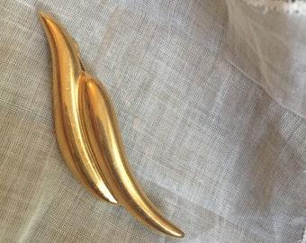 Vintage Leaf Goldtone Brooch