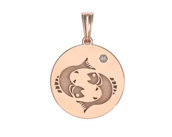 Pisces necklace, Zodiac Jewelry, Zodiac Necklace, Gold Necklace, Rose Gold Jewelry, white gold necklace, Solid Gold Zodiac Necklace