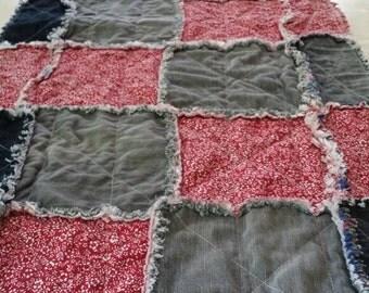 denim table runner, rag , quilted table runner, red , jeans , home decor , homemade table runner