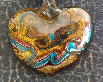 Swirl heart leather necklace with turquoise
