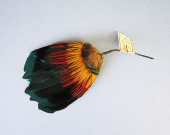 AUTHENTIC Vintage Millinery Feathers Rich and Vibrant Colours - Comes With Original Label Attached - Flapper Hat Trim