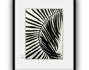 """SALE Original Painting, Plant Art, Abstract Painting, Contemporary Art, Black and White painting, Modern Painting on Paper 11""""x15"""""""