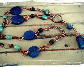 Copper & Lapis - Beaded Link Necklace - Y Necklace/Copper - Czech Beads in Turquoise and Blue/Copper Wire Wrapped Lapis Pendant - Boho/Gift