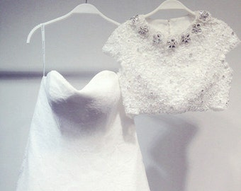 Two Piece Lace A Line Wedding Dress Vintage Style