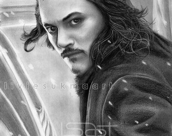 ORIGINAL artwork of Bard the Bowman by pencil