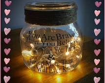 Personalised Glass Light Jars with fairy lights and white feathers, gift for her, gift for mum, sentimental gift