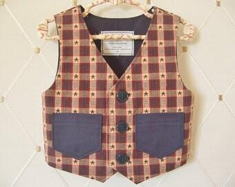 Toddler Vest, Little Boys Vest, Patriotic, Stars, Navy Blue Vest, Plaid Vest, Kids Vest, Ringbearer Vest, Wedding Vest, Baptism Vest