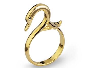 SWAN Ring, Gold Bird Ring, Gold Swan Jewelry, Unique Gold Ring, Gold Statement Ring, Animal Ring, Unique Ring, Symbolic Ring