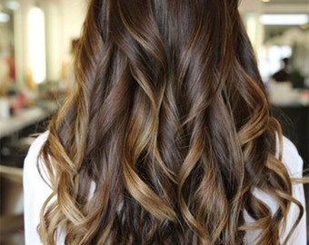 Clip in Extensions- Bayalage / Ombre European Hair / 120grams Full head set Luxury Quality / 100% Human Hair/ Re-usuable for a life time!