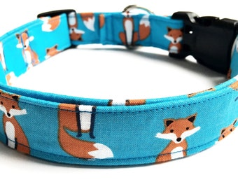 Fox Personalized Dog Collar, Embroidered Dog Collar, Handmade Dog Collar, Custom Dog Collar, fox Dog Collar, boy Dog Collar, girl dog