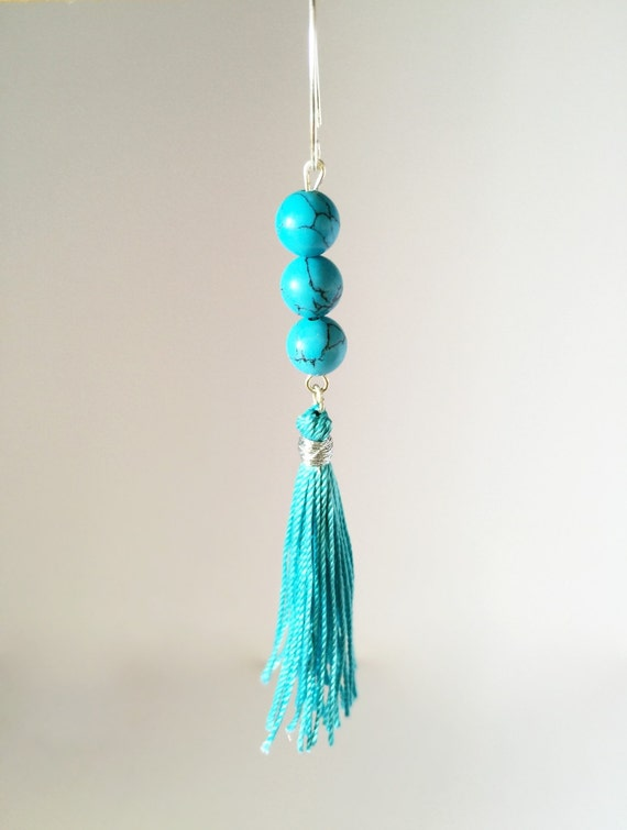 turquoise color gemstones earrings 925 by