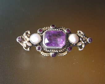 Austro-Hungarian Silver(750) Brooch with Amethyst.