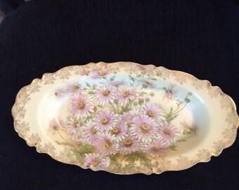 Antique Vintage Hand Painted Bavarian Porcelain Platter