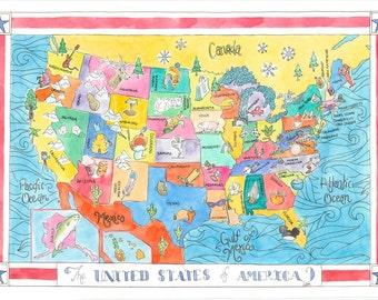 Original Watercolor USA Map Painting