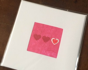 Blank Hand-Made Card - 'Button Heart' - Greeting Card, Birthday Card