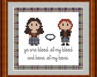 Outlander Cross Stitch Small Sampler Pattern, Jamie and Claire Counted Cross Stitch, Instant Download PDF