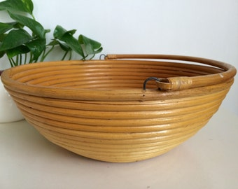 Large Vintage Coiled Rattan Bowl Basket with Handle Hand Made Boho