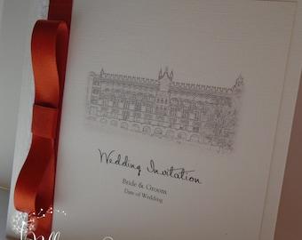 10 Bespoke Personalised Venue Printed Pocketfold Invitation