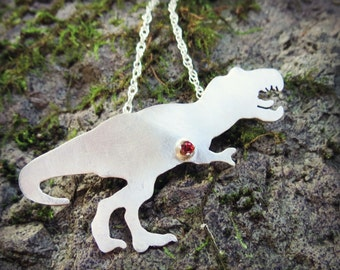 Sterling Silver Tyrannosaurus Rex Necklace, Dinosaur Pendant, Birthstone Pendant, Jurassic Jewelry, Gift for Her, Trex, Made to Order