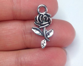 7 rose charms - tibetan silver plate, Beauty and the beast rose, flower charms, garden charms, unique charms for jewelry making,