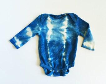 indigo dye long sleeve onesie - organic cotton - shibori - baby gift - baby shower gift - tie dye - hand dye - organic baby