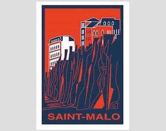 """""""Saint-Malo"""" 50 x 70 cm - décorative poster, poster vintage, retro poster"""