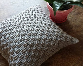 Small Hand-Crocheted Basketweave Cushion