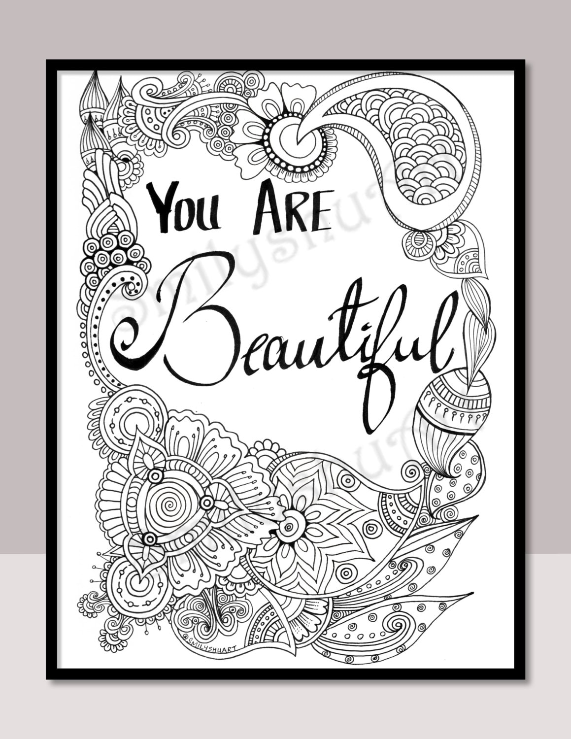 You Are Beautiful Instant Download Printable Motivational