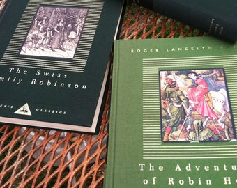 Vintage in mint condition set of 3 book classics The adventures of robin hood and The swiss family robinson and robinson crusoe beautiful gi
