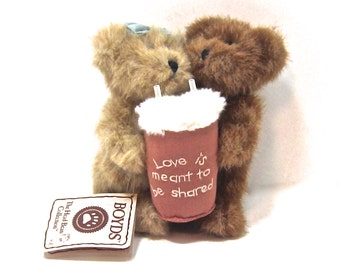 "BOYD'S BEARS  ""Milkshake Love"" Love is Meant to be Shared  teddy bear couple,  brown, tan, pink, white"