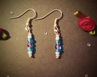 Blue & Pink Beads silver plated dangle earrings