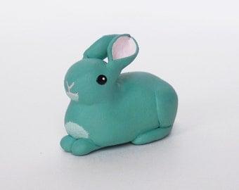 Seafoam green bunny rabbit polymer clay miniature figurine