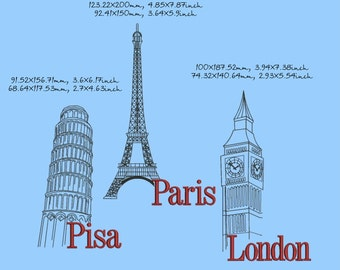 Cities - Pisa, Paris, London, machine embroidery design, landmarks, in 2 sizes, instant download