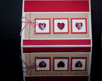 Three Hearts Love Card - Handmade Quilling and Papercraft
