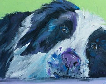 Hand painted 16x20 inch dog painting