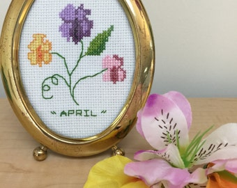 Oval Framed Cross Stitch- Vintage Oval Frame Needle Point -April Birthday Gift- Framed Needle Work