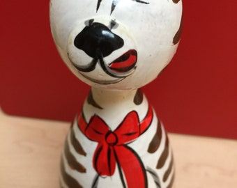 Wooden Cat Statue, Vintage Hand Painted Animal Statue, Striped Cat Wooden Box Statue