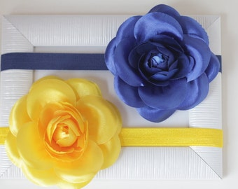 Yellow Baby Headband, Yellow Baby flower headband,Royal Blue headband, Newborn Headband Toddler Headband, Yellow Baby Hair Bow